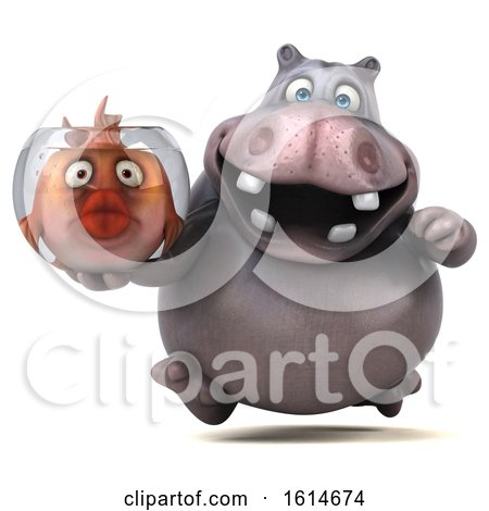 Clipart of a 3d Hippo, on a White Background - Royalty Free Illustration by Julos