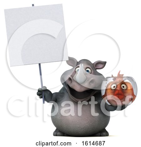 Clipart of a 3d Rhinoceros, on a White Background - Royalty Free Illustration by Julos
