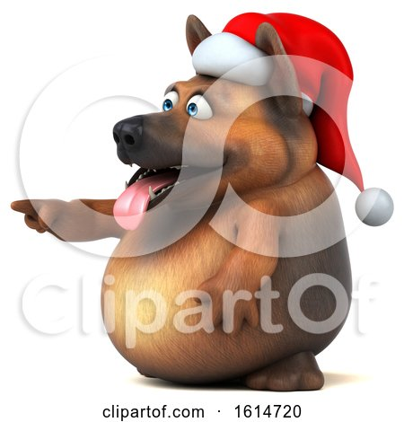 Clipart of a 3d Christmas German Shepherd Dog, on a White Background - Royalty Free Illustration by Julos