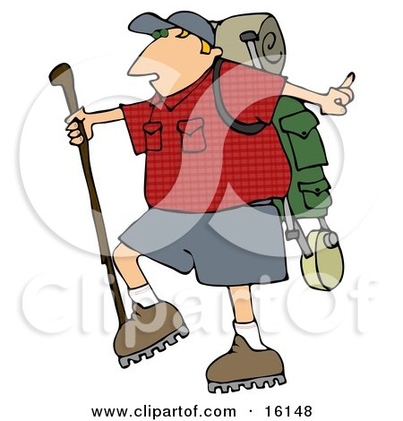 Slightly Chubby Man Hiking And Carrying A Stick And Gear On His Back Clipart Illustration by djart