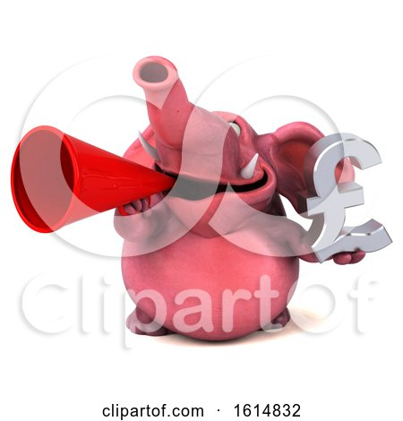 Clipart of a 3d Pink Elephant, on a White Background - Royalty Free Illustration by Julos