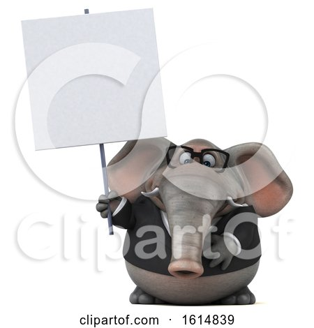 Clipart of a 3d Business Elephant, on a White Background - Royalty Free Illustration by Julos