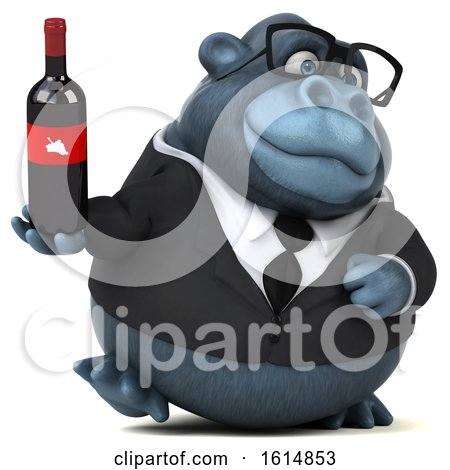 Clipart of a 3d Business Gorilla, on a White Background - Royalty Free Illustration by Julos