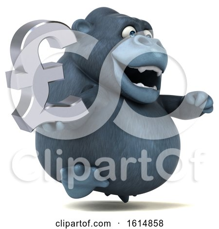 Clipart of a 3d Gorilla, on a White Background - Royalty Free Illustration by Julos
