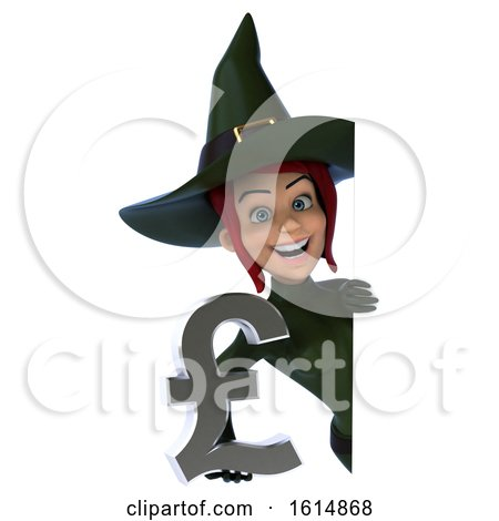 Clipart of a 3d Sexy Green Witch, on a White Background - Royalty Free Illustration by Julos