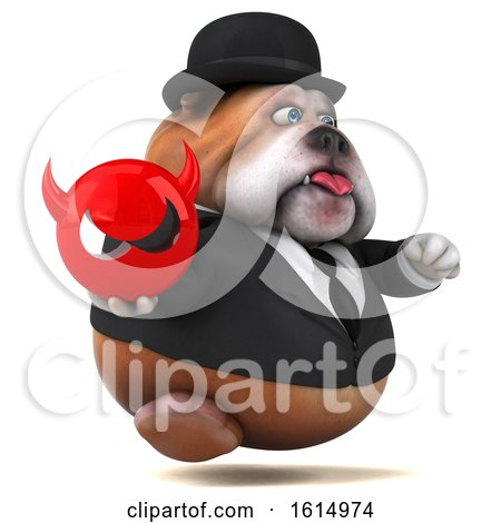 Clipart of a 3d Gentleman or Business Bulldog, on a White Background - Royalty Free Illustration by Julos