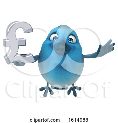 Clipart of a 3d Blue Bird Holding a Lira Symbol, on a White Background - Royalty Free Illustration by Julos