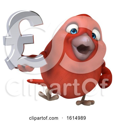 Clipart of a 3d Red Bird Holding a Lira Symbol, on a White Background - Royalty Free Illustration by Julos