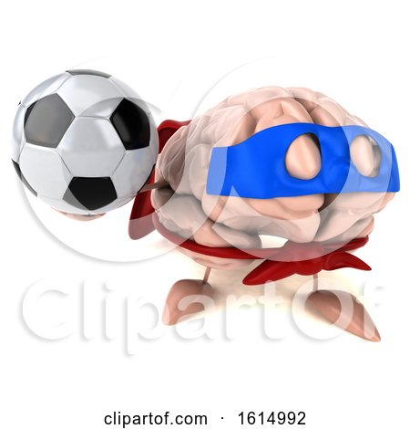 Clipart of a 3d Super Brain Character, on a White Background - Royalty Free Illustration by Julos
