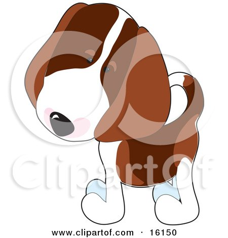 Curious Little Beagle Puppy Dog Tilting His Head Clipart Illustration Image by Maria Bell