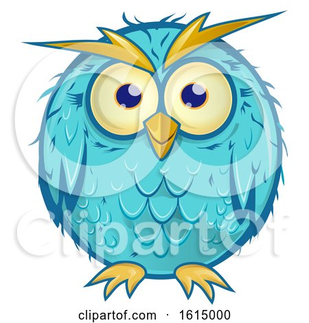 Clipart of a Blue Owl - Royalty Free Vector Illustration by Domenico Condello