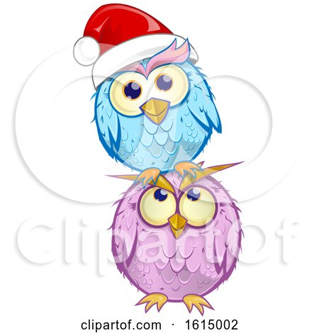 Clipart of a Blue Christmas Owl Wearing a Santa Hat and Balancing on a Purple Owl - Royalty Free Vector Illustration by Domenico Condello