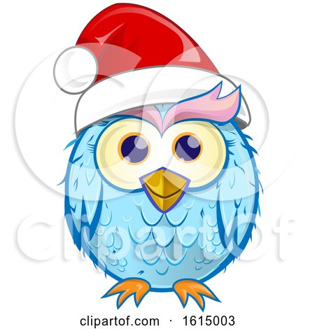 Clipart of a Blue Christmas Owl Wearing a Santa Hat - Royalty Free Vector Illustration by Domenico Condello