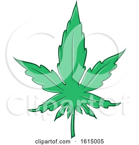 Clipart of a Cannabis Marijuana Pot Leaf - Royalty Free Vector Illustration by Domenico Condello