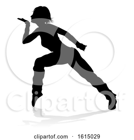 Street Dance Dancer Silhouette, on a white background by AtStockIllustration