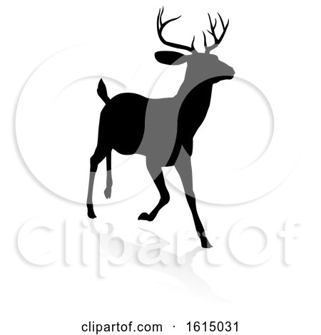 Deer Animal Silhouette, on a white background by AtStockIllustration