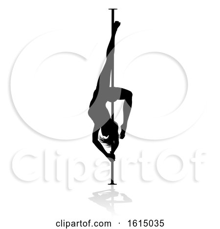 Pole Dancing Woman Silhouette, on a white background by AtStockIllustration