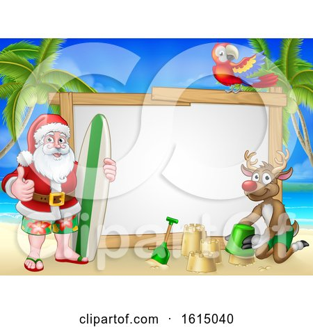 Santa Claus and Reindeer Surf Beach Christmas Sign by AtStockIllustration