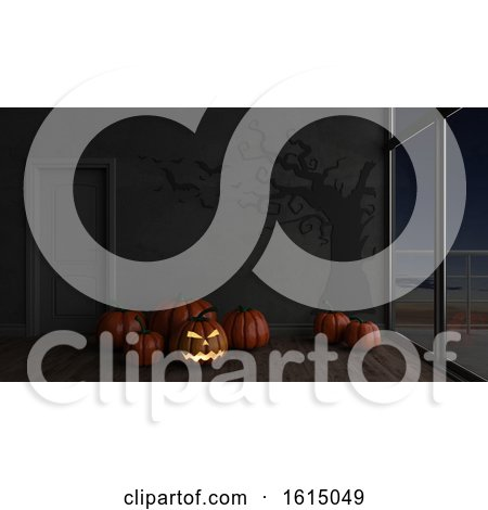 3D Contemporary Empty Room with Jack-o-lantern by KJ Pargeter