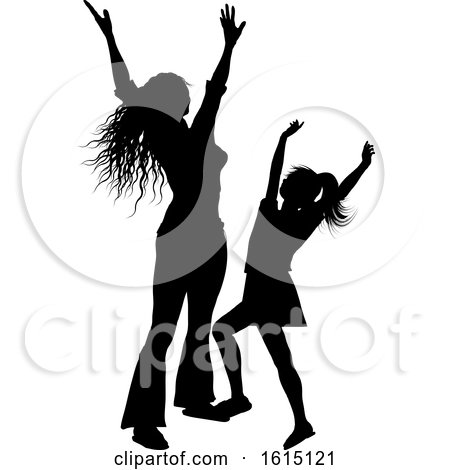 Silhouette of a Mother and Daughter with Arms Raised in Joy by KJ Pargeter