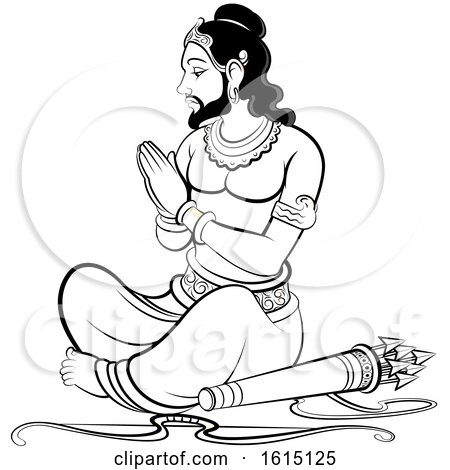 Clipart of a Sri Lankan King with a Bow and Arrows, Black and White - Royalty Free Vector Illustration by Lal Perera