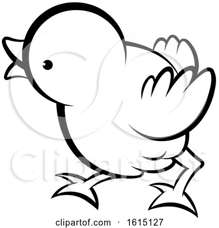 Black and White Cute Curious Chick Posters, Art Prints