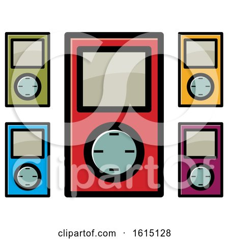 Clipart of Colorful Ipod Icons - Royalty Free Vector Illustration by Lal Perera