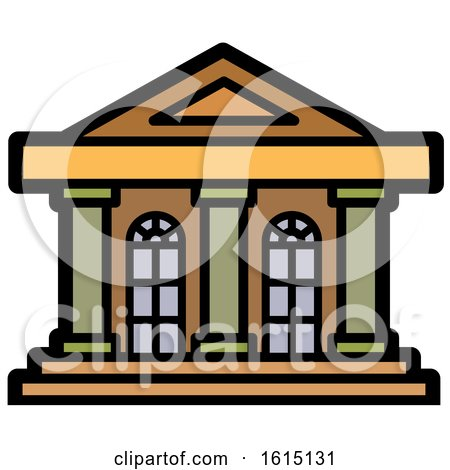 Clipart of an Old Building Facade Icon - Royalty Free Vector Illustration by Lal Perera