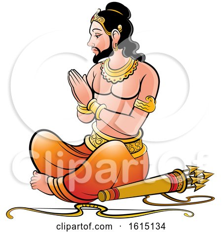 Clipart of a Sri Lankan King with a Bow and Arrows - Royalty Free Vector Illustration by Lal Perera