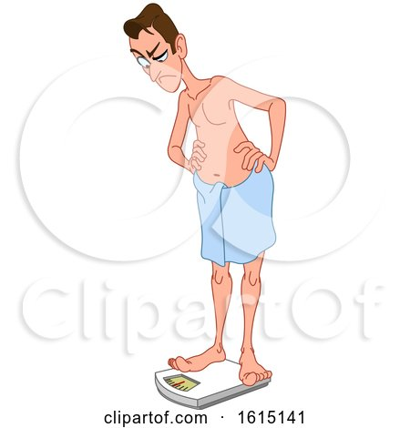 Clipart of a Cartoon White Man Angrily Standing on a Scale - Royalty Free Vector Illustration by yayayoyo