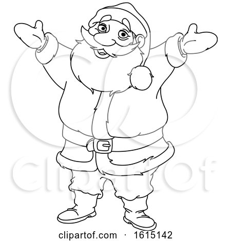 Clipart of a Lineart Welcoming Santa Claus - Royalty Free Vector Illustration by yayayoyo