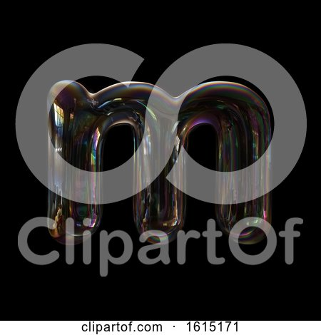 Clipart of a Soap Bubble Lowercase Letter M on a Black Background - Royalty Free Illustration by chrisroll