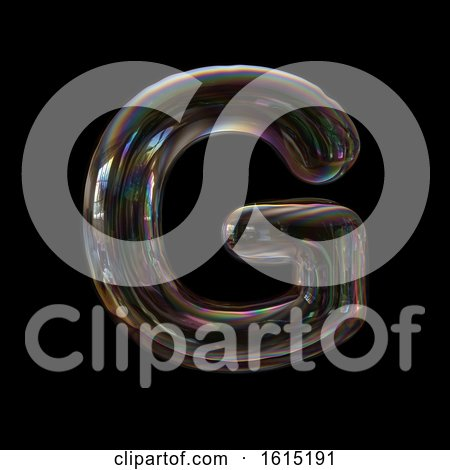 Clipart of a Soap Bubble Capital Letter G on a Black Background - Royalty Free Illustration by chrisroll
