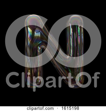 Clipart of a Soap Bubble Capital Letter N on a Black Background - Royalty Free Illustration by chrisroll