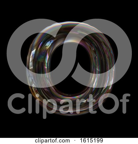 Clipart of a Soap Bubble Capital Letter O on a Black Background - Royalty Free Illustration by chrisroll