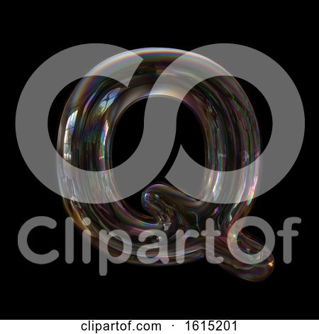 Clipart of a Soap Bubble Capital Letter Q on a Black Background - Royalty Free Illustration by chrisroll