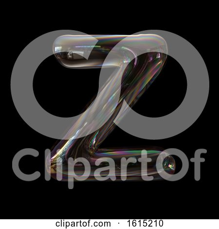 Clipart of a Soap Bubble Capital Letter Z on a Black Background - Royalty Free Illustration by chrisroll
