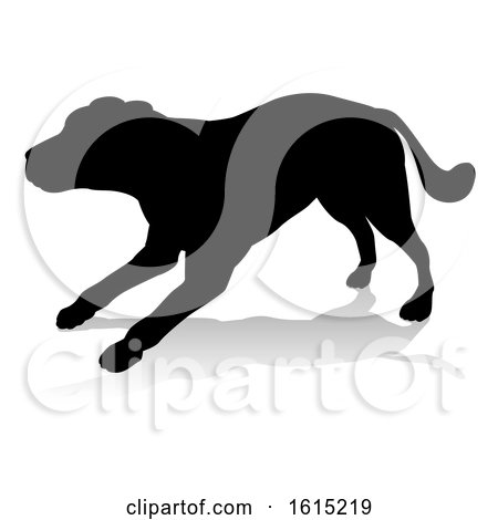 A detailed animal silhouette of a pet dog by AtStockIllustration