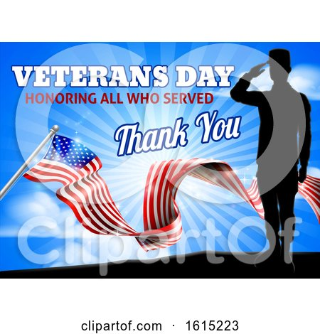 American Flag Veterans Day Soldier Saluting by AtStockIllustration