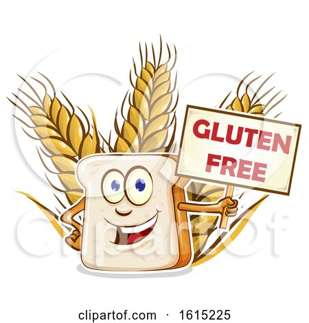 Clipart of a Cartoon Slice of Bread Mascot Holding a Gluten Free Sign over Wheat - Royalty Free Vector Illustration by Domenico Condello