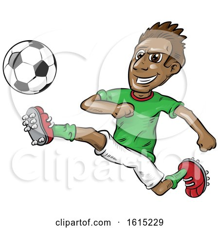 Clipart of a Soccer Player in Action - Royalty Free Vector Illustration by Domenico Condello