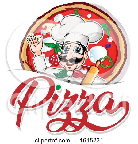 Clipart of a Cartoon Italian Chef with Pizza and Text - Royalty Free Vector Illustration by Domenico Condello