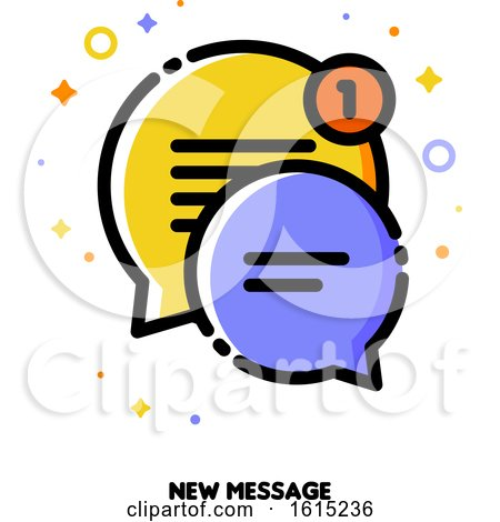 Icon of Two Cute Speech Bubbles for New Message Concept by elena