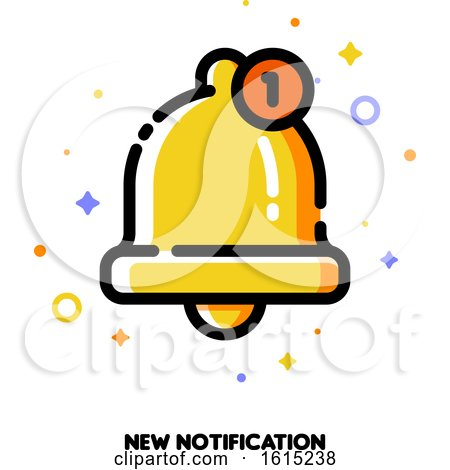 Icon of Cute Golden Bell for New Notification Concept by elena