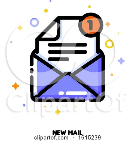 Icon of Open Envelope for New Mail Concept by elena