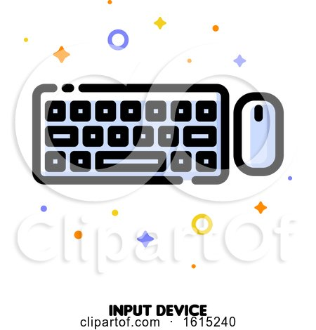 Icon of Computer Wireless Keyboard Top View and Mouse for Gadget Concept by elena