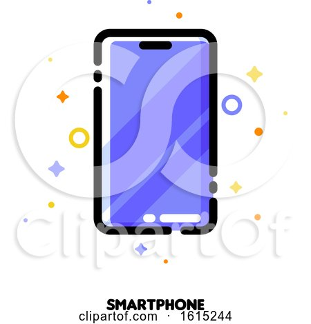 Icon of Smartphone with Huge Display with Purple Screen for Gadget Concept by elena