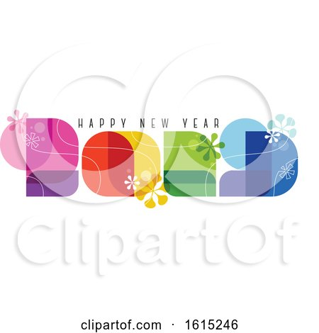 60s Retro Style Numbers 2019 and Happy New Year Greetings Isolated on White Background by elena