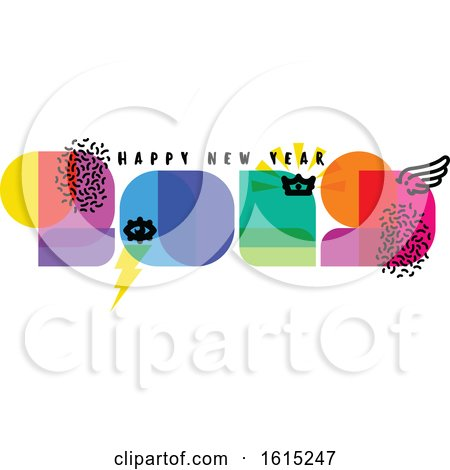 Modern Style Numbers 2019 with Cool Design Elements and Happy New Year Greetings Isolated on White Background by elena