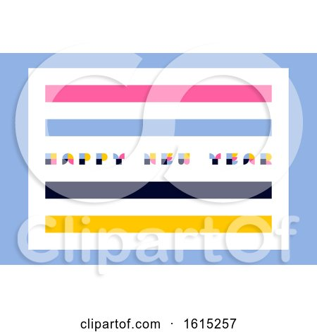 Minimalistic Happy New Year Greeting Card with Retro Style Lettering and Abstract Multicolor Blocks by elena